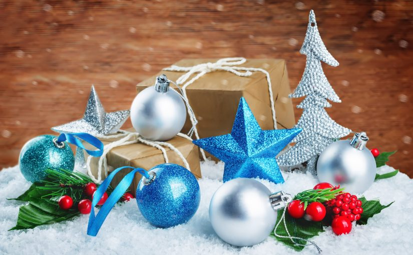 Christmas winter background with gifts, colored balls and star. Christmas background concept