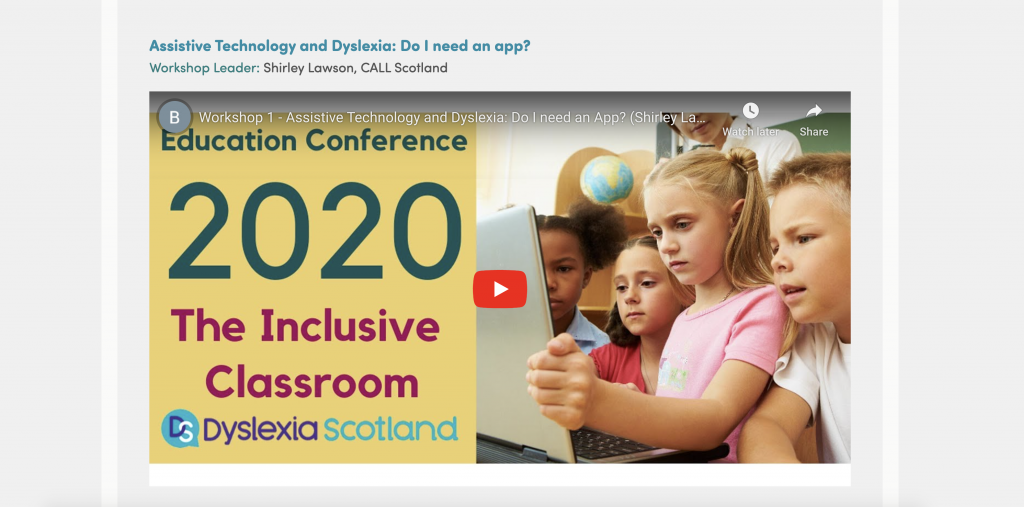 One of the workshops at Dyslexia Scotland 2020 Annual Conference