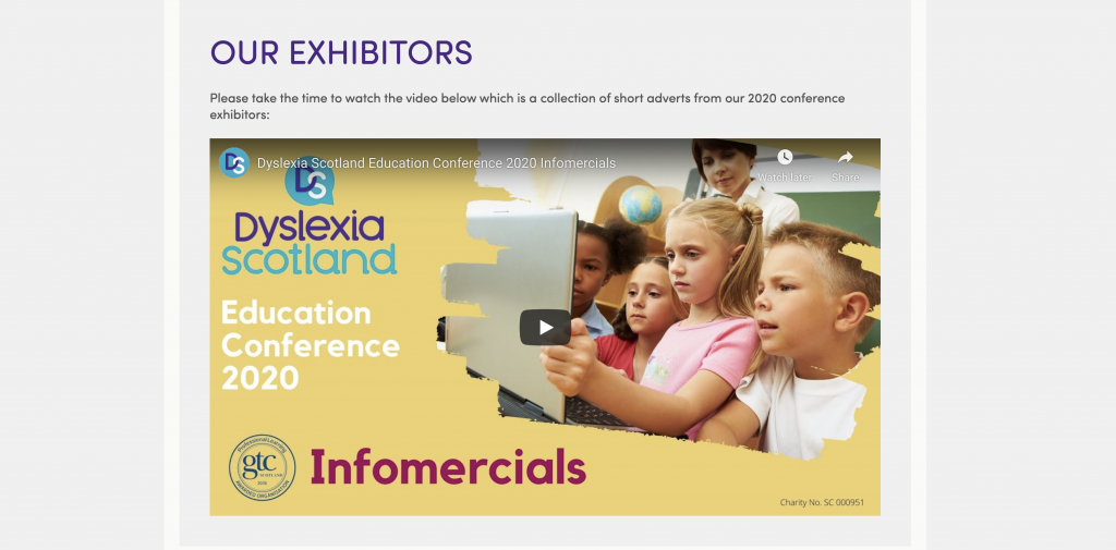 Dyslexia Scotland 2020 annual conference exhibitors section and films