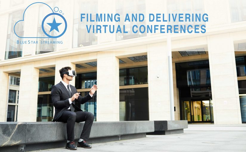 Virtual Conference image man sitting with vr headset