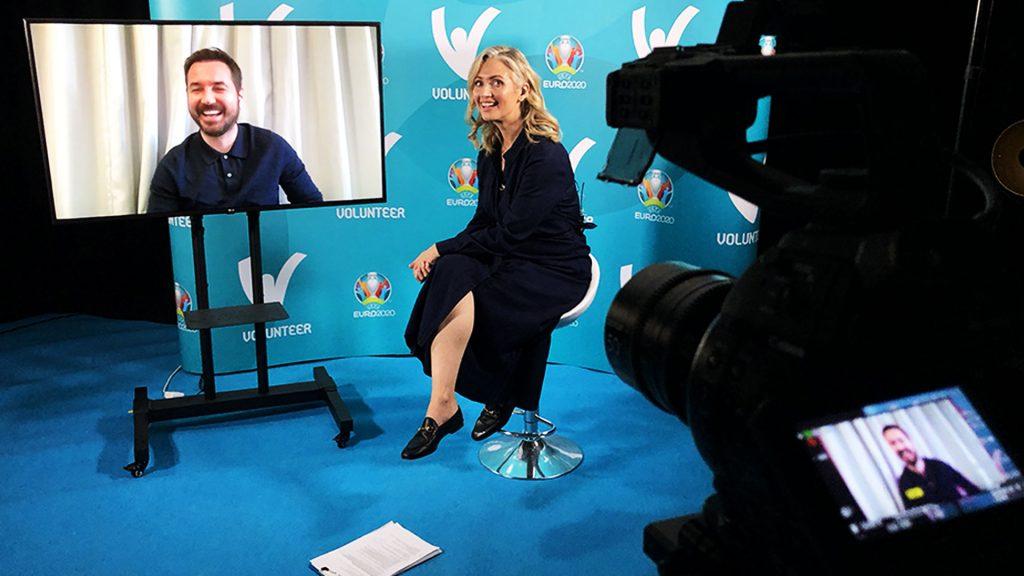 Sky Sports presenter Hayley McQueen interviews James McFadden.